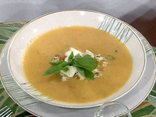 Cold Heirloom Tomato Soup with Tropical Lobster Relish Recipe