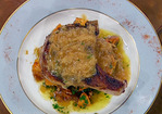 Double-Cut Pork Chops with Caramelized Onion Gravy and Pecan Glazed Sweet Potatoes Recipe