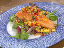 Grilled Salmon with a Pineapple, Mango and Strawberry Salsa Recipe
