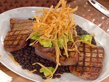 Grilled Tuna with Black Bean Chili, Avocado Puree and Fried Tortillas Recipe