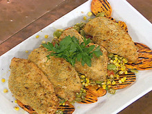 """Oven """"Fried"""" Chicken with Summer Succotash and Grilled Sweet Potatoes Recipe"""