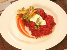 Beet and Red Onion Potato Latkes with Carrot Puree and Horseradish and Caraway Creme Fraiche Recipe
