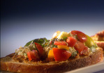 Fiery Summer Bruschetta with Zesty Olive Spread and Spicy Candied Bacon Recipe