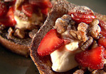 French Toast with Caramelized Pecans, Strawberries and Cream Recipe