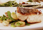 Seared Wild Striped Bass with Sauteed Spring Vegetables Recipe
