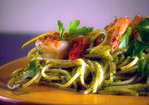 Spaghetti with Arugula Pesto and Seared Jumbo Shrimp Recipe