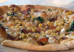 White Cheese Pizza with Grilled Corn and Wood Smoked Bacon Recipe