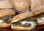 Latin Burgers with Caramelized Onion and Jalapeno Relish and Red Pepper Mayonnaise Recipe