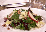 Frisee Salad with Spiced Walnuts, Pears, Farmhouse Cheddar, and Port Vinaigrette Recipe