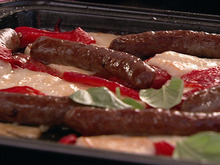 Merguez with Halloumi and Flame-Roasted Peppers Recipe