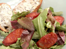 Bolo Salad with Chorizo, Cabrales Blue Cheese, and Tomatoes Recipe