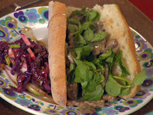 Sliced Steak Stroganoff in French Bread and Dill Relish Dressed Salad Recipe