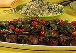 Spiced Lamb Chops on Sauteed Peppers and Onions with Garlic and Mint Couscous Recipe
