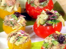 A Stuffed Picnic: Tuna and Artichoke Stuffed Tomatoes, Red Pepper, Feta and Chick Pea Stuffed Zucchini, Nut and Brown Sugar Stuffed Macintosh Apples Recipe