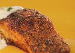 Blackened Salmon with Blue Cheese Sauce Recipe