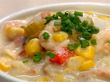 Roasted Corn Chowder with Lime Cured Shrimp Recipe