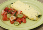 Spinach and Cheese Omelet with Farm Fruit Salad in Champagne Vinaigrette Recipe