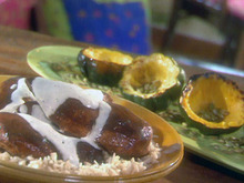 Roasted Balsamic Chicken With Horseradish Froth, Acorn Squash With Pumpkin Seeds, Brown Rice Recipe