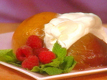 Vanilla Poached Peaches with Whipped Minted Yogurt Recipe