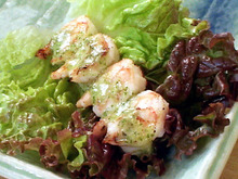 Grilled Shrimp in Lettuce Leaves with Serrano-Mint Sauce Recipe