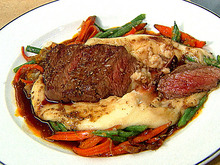 Prime Aged Cote de Boeuf with Roasted Baby Carrots, Shallots and Aligot Recipe