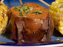Red Chile Rubbed Sweet Potatoes with Green Onion Vinaigrette Recipe