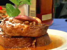 White Peach-Bourbon French Toast with White Peach-Pecan Maple Syrup Recipe