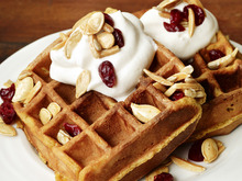 Pumpkin Waffles With Trail-Mix Topping Recipe