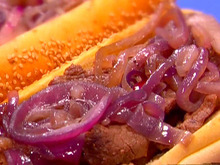 Philly Cheesesteaks with Melted Fontina and Sauteed Red Onions Recipe
