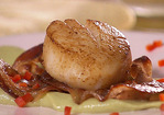 Seared Scallops with Pancetta over Avocado and Wasabi Recipe