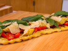 Grilled Pizza with Tomatoes, Basil, and Artichokes Recipe