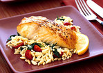 Baked Halibut with Orzo, Spinach, and Cherry Tomatoes Recipe