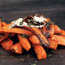 Burnt Carrots with Goat Cheese, Parsley, Arugula, and Crispy Garlic Chips Recipe