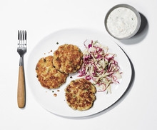Fish Cakes with Coleslaw and Horseradish-Dill Sauce Recipe