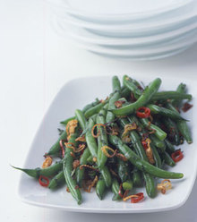 Green Beans with Crisp Shallots, Chile, and Mint Recipe