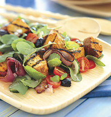 Grilled Cornbread Salad with Red Onions, Arugula, and Red Wine Vinaigrette Recipe