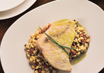 Oil-Poached Swordfish with White Corn, Guanciale and Chive Oil Recipe