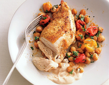 Roast Chicken Breasts with Garbanzo Beans, Tomatoes, and Paprika Recipe