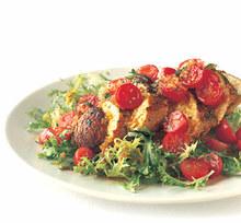 Sauteed Chicken with Tomato-Saffron Vinaigrette on Frisée Recipe