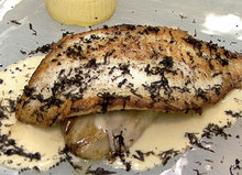 Sauteed Turbot with Braised Endive, Celery Root Flan, Black Truffles, and Garlic Nage Recipe
