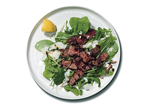 Steak with Parmesan Butter, Balsamic Glaze, and Arugula Recipe