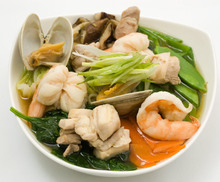 Udon Noodles with Chicken, Shellfish, and Vegetables Recipe