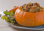Neo-Classical Thanksgiving Dressing with Apricots and Prunes, Stuffed in a Whole Pumpkin Recipe
