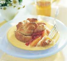 Peach-Raspberry Bundles with Orange Custard Sauce Recipe
