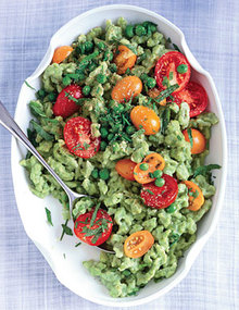 Pea Spaetzle with Mint, Chives, and Tomatoes Recipe