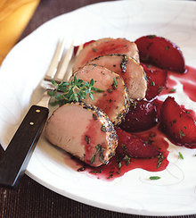 Roasted Pork Loin with Poached Plums Recipe