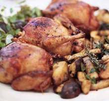 Roast Squabs with Porcini and Country Bread Salad Recipe