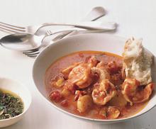 Shrimp and Fingerlings in Tomato Broth Recipe