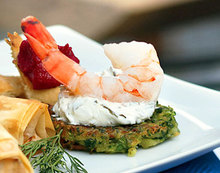 Shrimp with Zucchini Fritters and Grape-Leaf Spread Recipe