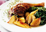 Braised Duck Legs with Shallots and Parsnips Recipe